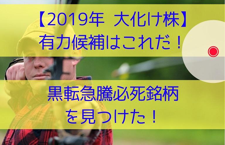 【2019年 大化け株 有力候補はこれだ!】黒転急騰必死銘柄を見つけた!